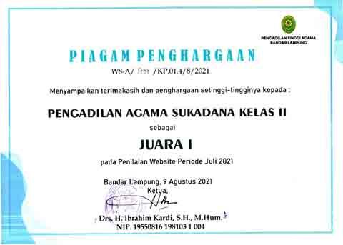Juara I Penilaian Website Periode Juli 2021